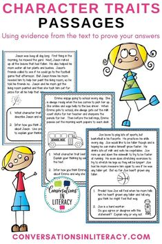 Character Traits Passages are a way to introduce students to using clues the author gives in the text to understand and comprehend what they are reading and to use these clues as evidence in their writing. If you are working on character traits or using evidence from the text to prove your answer this will be great for your students!