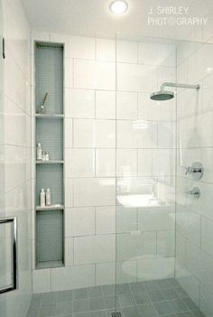 Love this built-in storage for shower