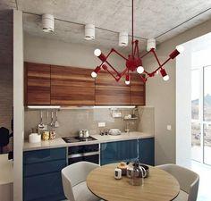 blue+wood kitchen