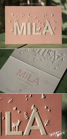 letterpers_letterpress_geboortekaartje_Mila_roze_preeg_lief_dieren
