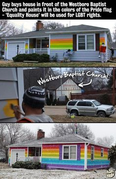 Rainbow flag painted on house across from Westboro Baptist Church   http://news.msn.com/us/rainbow-flag-painted-on-house-across-from-westboro-baptist-church