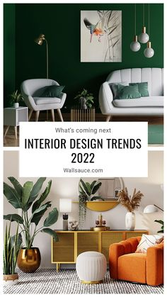 Wondering what's on the horizon for 2022 interiors? Here are a few of our predictions for new 2022 interior design trends! Time to update your decor? Interior Design Trends 2022: Our Predictions. Interior trends that you need to know about. The most popular interior & wallpaper trends for 2022. Read more trends and tips on our blog. Where to buy trendy wallpaper. #wallpaper #wallmural #accentwall #featurewall #wallsauce #2022trends #trends #interiordesign #homedecor Navy Living Rooms, Living Room Trends, Living Room Green, Green Lounge, Living Room Decor Inspiration, Home Decor Trends, Home Interior Design, Interior Decorating, Design Trends