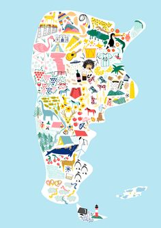 Beautiful illustration of Argentina 💟 Columbia South America, South America Travel, Travel Maps, Travel Posters, America City, Tango, Map Art, Little Gifts, Travel Pictures