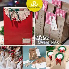 Comprou um presente de natal e quer fazer diferente na hora de embrulhar? Ou quer dar só uma lembrancinha, mas sem perder a classe? Essas são só algumas ideias de presentes com embalagens super criativas, que pedem só que você solte a imaginação para embrulhar presentes mais chiques até coisas mais simples, como doces e bolachas!#Inspiracao #Embalagens #Presentes #Natal #TudoMKT #TudoMarketing