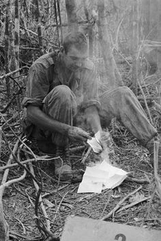 "Probably heating up his C rations by burning up a ""Dear John"" letter, there was lots of those...... #VietnamWarMemories https://www.pinterest.com/jr88rules/vietnam-war-memories-2/"