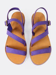 feb90ea68dc0c1 Casual Peep Toe Strappy Purple Low Heel Asymmetrical Faux Suede Ankle Strap  Flat Sandal  StilettoHeels. High Fashion Heels World