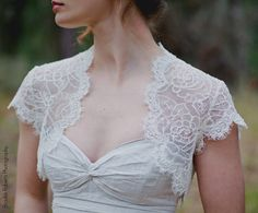 Cap sleeve Lace wedding jacket by AlisaBenay on Etsy, $160.00 Maybe over a sweetheart dress?