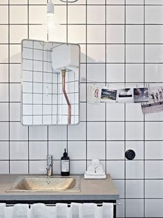 Today is our installment of our 3 part series on white tiles with dark grout. In Monday& post we looked at white subway tiles wit. White Tiles Black Grout, White Bathroom Tiles, White Subway Tiles, Modern Bathroom, Wall Tiles, White Bathrooms, Bathroom Photos, Mirror Bathroom, Beautiful Bathrooms