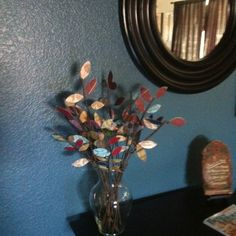 Scrapbook leaves decor...my first Pinterest craft!