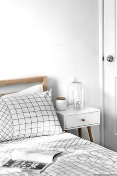 scandi bedroom - white, wood, black