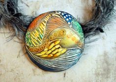 Carved pendant from Polymer Clay  Handmade by mara3121 on Etsy, $21.00