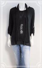 Lagenlook split button back casual top in black fits 10-16