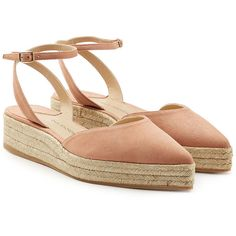 Paul Andrew Suede Espadrilles ($285) ❤ liked on Polyvore featuring shoes, sandals, pink, pointed toe sandals, espadrille shoes, pointed toe shoes, suede espadrilles and pink sandals
