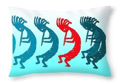 "Kokopelli 8 In A Row 1 Red Throw Pillow 20"" x 14"""
