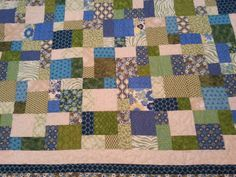 Blue and green queen size quilt by 4quiltsandmore on Etsy, $199.00