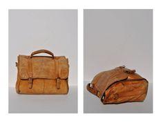 vintage leather bag satchel attache tote briefcase tote distressed. $55.00, via Etsy.
