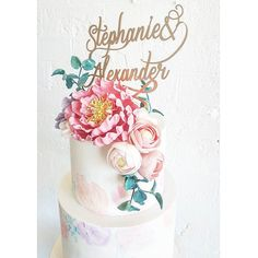 Water colour florals and vibrant sugar flowers to celebrate the wedding of Stephanie & Alexander...we used the clients invite as inspiration  . Topper by @communicakeit organised by the client by sweetbloomcakes