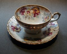 Royal Sealy Tea Cup and Saucer Pansy Japan