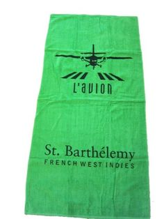 Know someone who loves #STBarts? If you've ever flown into the island, you know the heart-stopping landing this logo represents! We're offering a limited edition #L'Avion Lavion Couture St Barts Iconic Logo  Jumbo GREEN Beach Towel. #Saint Barthelemy L'avion http://www.amazon.com/dp/B00B0ET402/ref=cm_sw_r_pi_dp_pLCHub10FSD1Z