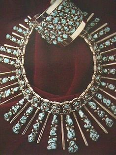Old image of a Frank Patania, Sr. Set c. 1955Fabricated sterling silver andBurnham turquoise necklace and cuff bracelet