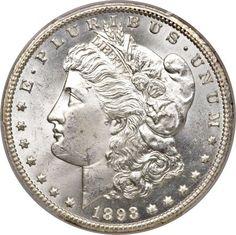 Morgan Dollars, 1893-CC $1 MS64 PCGS.... Image #1