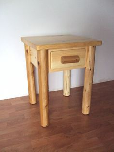 Log 1 Drawer End Table / Nightstand - Rustic Furniture Cedar Cabin Home