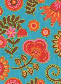 Oh La La-Bouquet Fleurs Turquoise (Michael Miller: Pillow and Maxfield)
