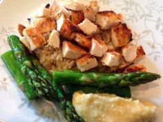 Recipe: Grilled Chicken and Asparagus with Quinoa and Hummus #BalancedMeals ~ Trendy Mom Reviews - Pregnancy Meals - #Recipes #Chicken #Asparagus #Quinoa #Hummus