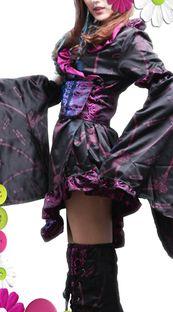 short black and pink gothic kimono