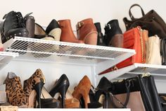 turn one heel in to take up less real estate on a shoe shelf and fit more pairs