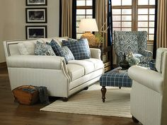 King Hickory Julianna Fabric Sofa Furniture Large Upholstered Living
