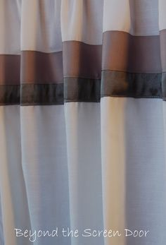 Simple Solution to Lengthening Window Treatments - Sonya Hamilton Designs Lengthen Curtains, Short Curtains, Striped Curtains, Window Panels, Window Coverings, Window Treatments, Window Design, Wall Design, Ribbon Wall