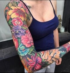 half sleeve tattoo designs and meanings Tattoos For Women Half Sleeve, Shoulder Tattoos For Women, Japanese Sleeve Tattoos, Full Sleeve Tattoos, Tattoo Women, Colorful Sleeve Tattoos, Colorful Flower Tattoo, Beautiful Flower Tattoos, Flower Tattoo Arm