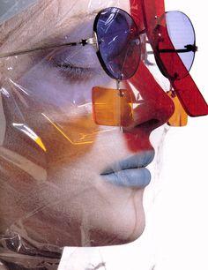 """""""Taking Cover"""" - Issey Miyake sunglasses , Vogue US, June 1995"""