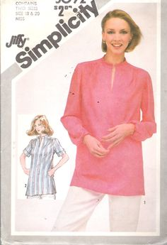 """Vintage 1981 Simplicity Misses Jiffy Pullover Tunic Sewing Pattern Size 18 & 20 Bust 40"""" and 42"""" UNCUT by Recycledelic1 on Etsy"""