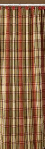 Heartfelt Shower Curtain Red Tan Mustard Green Plaid Country Primitive Home Decor Kitchen Linens