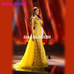 d57d9616b758 Online Shop Miss Universe Pageant Women Dress 2016 Deep V Neck Yellow Long  Lace Evening Dress Sexy Removable Skirt Robe Longue Femme Soiree