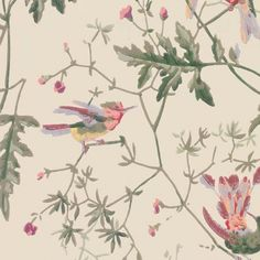 Hummingbirds Wallpaper A delightful wallpaper featuring playful hummingbirds fluttering amongst delicate foliage, printed in moss green, purple, apricot and yellow on a cream background.