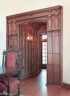 Barrel Vault, antique oak paneling uses hand-pegged joinery and historic English profiles