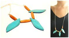 Sautoir en Turquoise véritable et perles en bois : Collier par perle-de-chamane