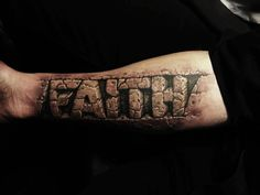 Check out the depth and dimension on this 3D FAITH tattoo. It feels like you can reach in and GRAB those letters!