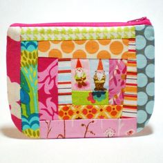 gnome friends patchwork zipper pouch