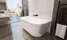 The Alegra Freestanding back-to-wall bath has beautiful curved edges, features a tile bead so it can be built into the wall or sit against the wall. Bathroom Mixer Taps, Bathroom Bath, Family Bathroom, Bathroom Renos, Bathroom Fixtures, Bathroom Furniture, Small Bathroom, Bathrooms, Bathroom Ideas