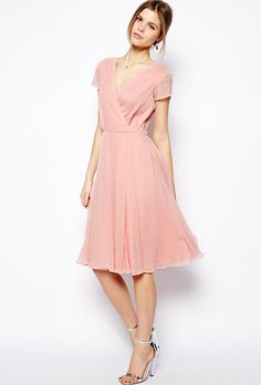 Wrap dress in midi length, $75.28, ASOS See more knee-length bridesmaid dresses.