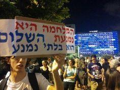 "9/08/14 Ora a Tel Aviv nonostante divieto polizia.""Stop the massacre, end the siege"" #Gaza"