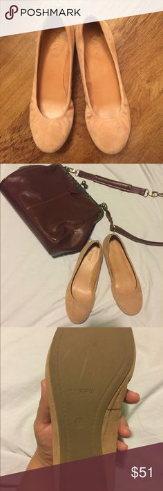J Crew Anna Suede ballet flats 👡 Nude cream adorable casual flats , very comfortable and on the go classy . In very good condition , gently used , size 8  :) 🤗💕 J. Crew Shoes Flats & Loafers