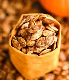 Homemade Roasted Cinnamon Sugar Pumpkin Seeds Recipe! Don't throw away the seeds when you carve pumpkins this year! Save them and make this recipe for the perfect sweet and salty fall snack! Vegan, gluten-free and dairy-free! and paleo-friendly! #pumpkin #pumpkinseeds #homemade #healthy #recipe #glutenfree #dairyfree #vegan #cinnamonsugar #paleo Cinnamon Sugar Pumpkin Seeds, Easy Pumpkin Seeds, Pumpkin Oatmeal, Pumpkin Ideas, Fall Recipes, Whole Food Recipes, Snack Recipes, Cooking Recipes, Pumpkins