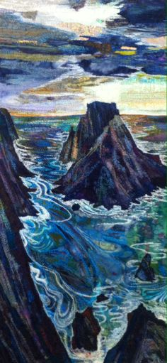 Machine embroidered seascape by Rachel Wright