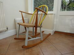 Ercol Child's Rocking Chair by RestoredbyLiat on Etsy, Eggshell Paint, Stylish Chairs, Rocking Chair, Painted Furniture, 1960s, Restoration, Nursery, Children, Simple
