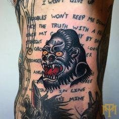 Blastover Gorilla tattoo by Luke Smith from TRADE MARK Tattoo Durban South Africa